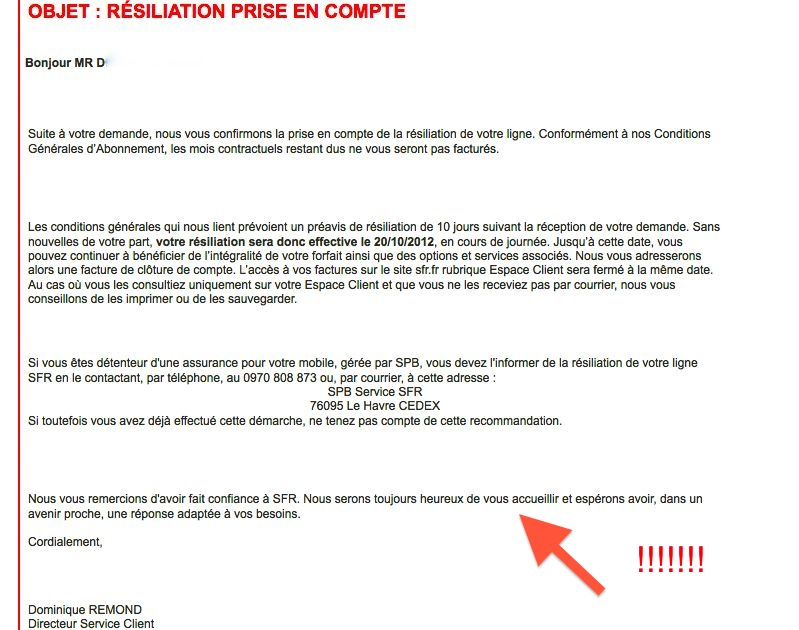 adresse de resiliation sfr red mobile