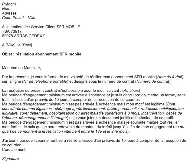 adresse resiliation sfr mobile