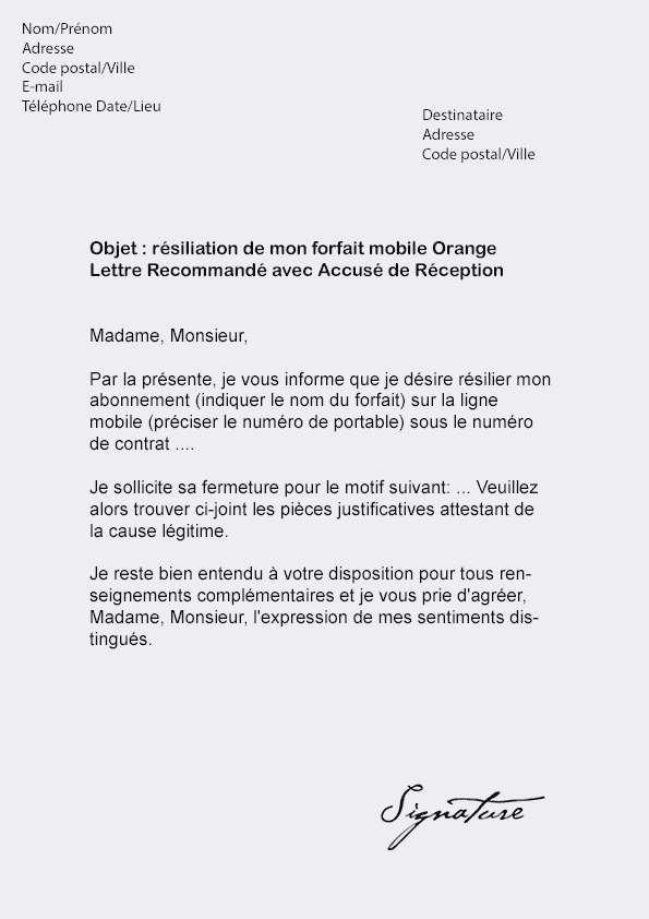 adresse sfr resiliation abonnement mobile - Modele de lettre type