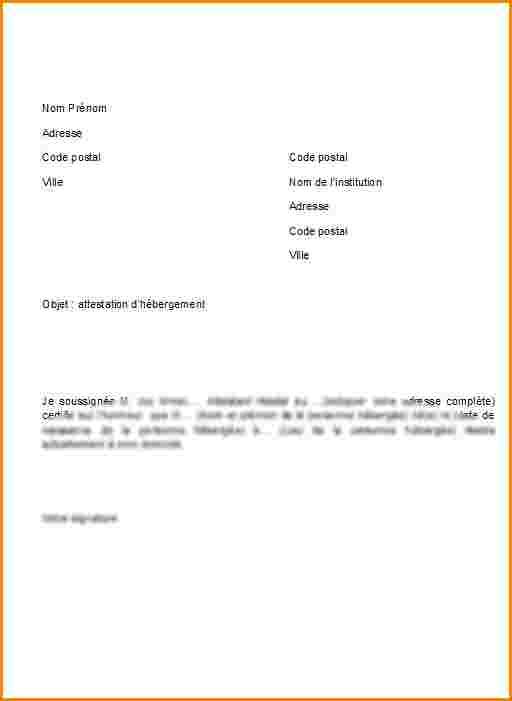 attestation d u0026 39 hebergement gratuit modele