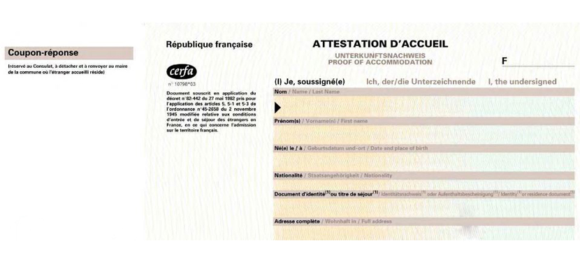 attestation d'hebergement
