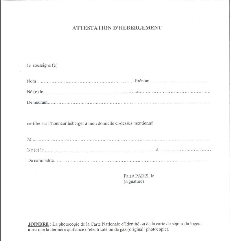 attestation d'honneur d'hebergement