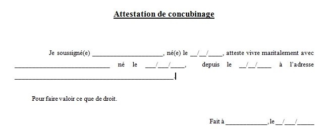 attestation de concubinage