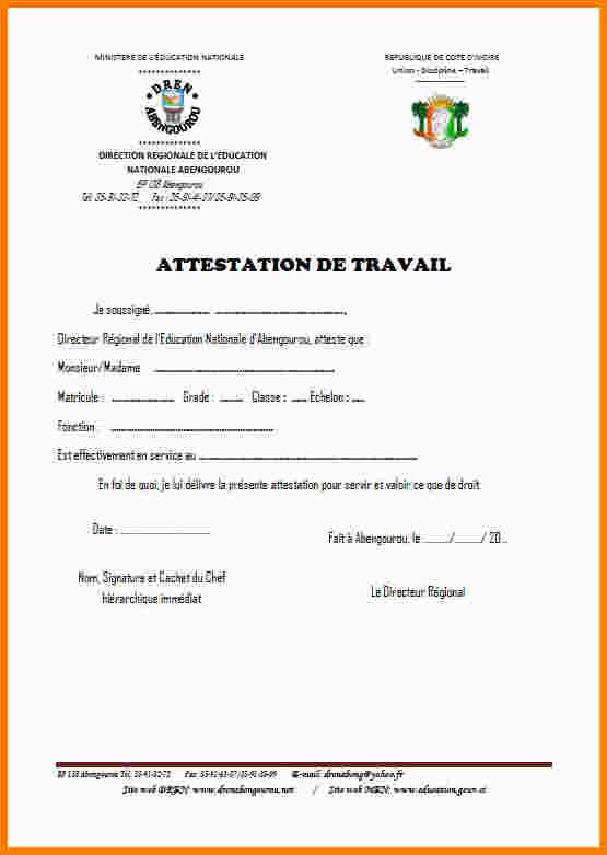attestation de travail de l u0026 39 employeur