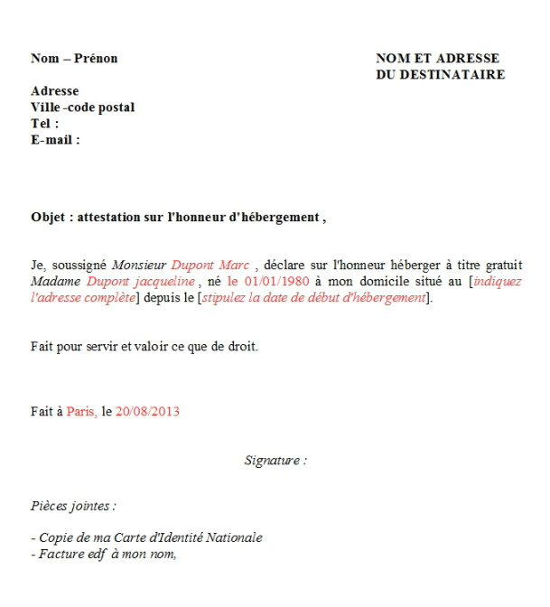 attestation dherbergement