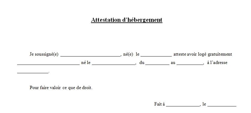 attestation hebergement type