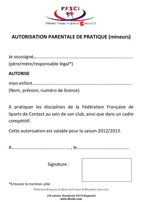 autorisation parentale sport