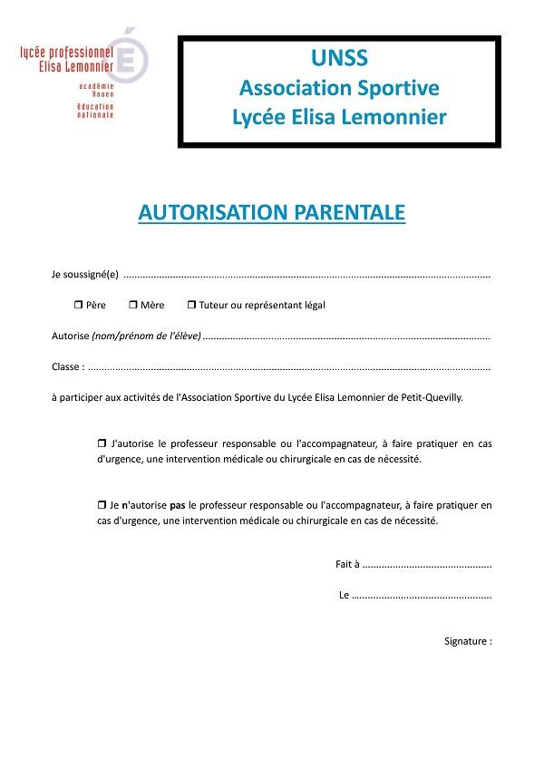 autorisation parentale type