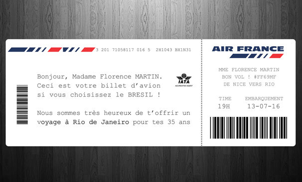billet d avion modele