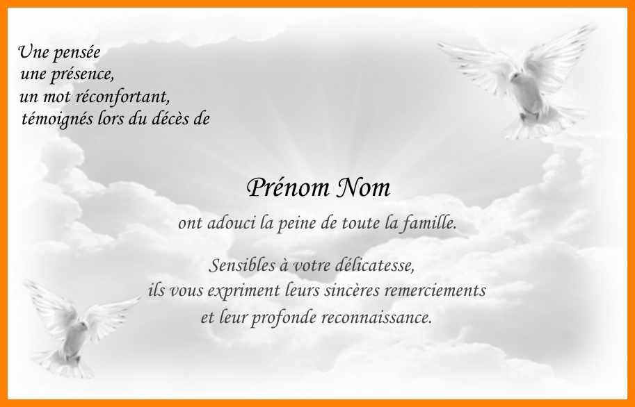 carte condoleances remerciement deces gratuite imprimer famille - Modele de lettre type