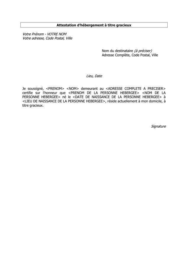 certificat d'hebergement a titre gracieux - Modele de lettre type