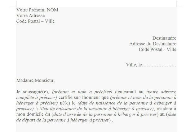 certificat d'hebergement a titre gratuit pdf