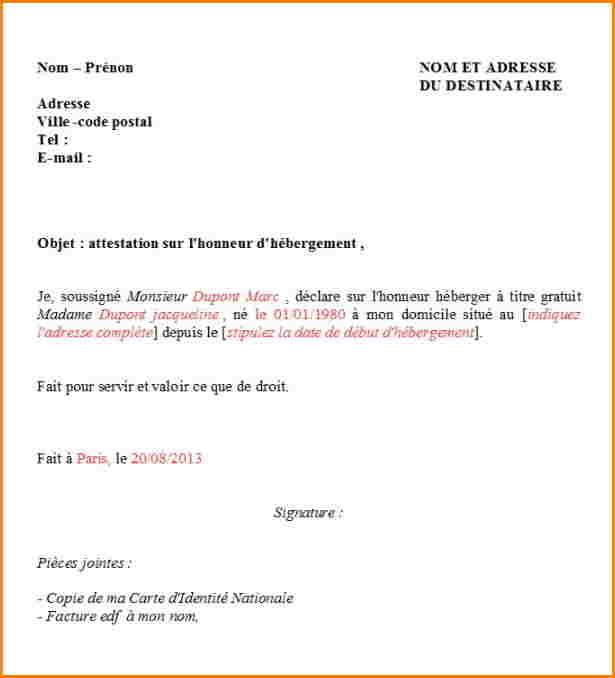 certificat d'hebergement a titre gratuit pdf - Modele de lettre type