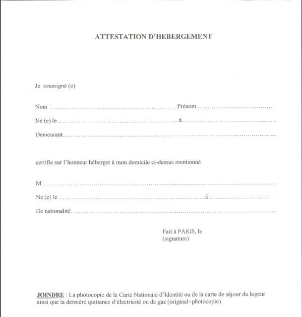 certificat d'hebergement modele