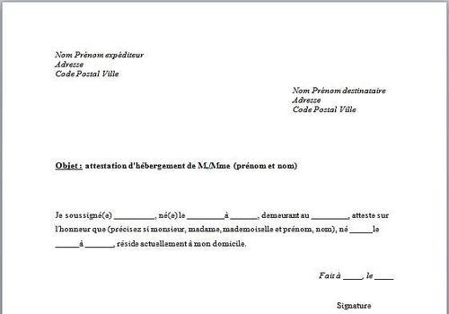 certificat d'hebergement type