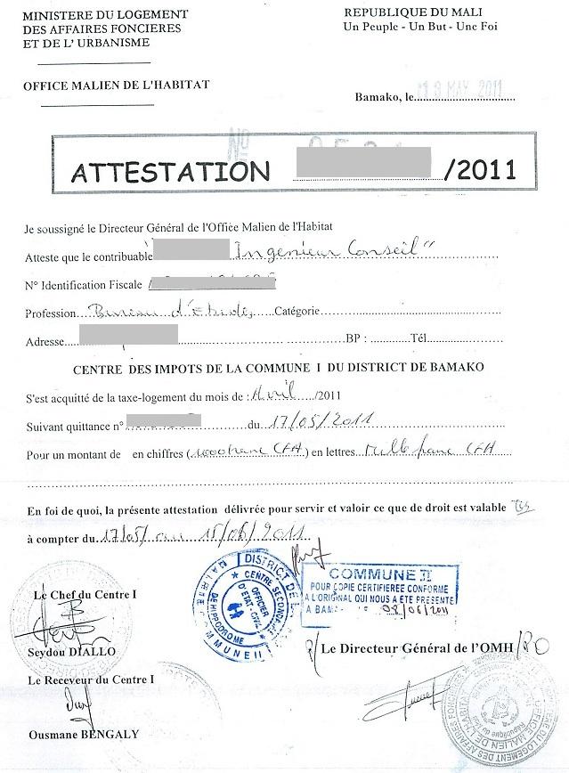 certificat de logement