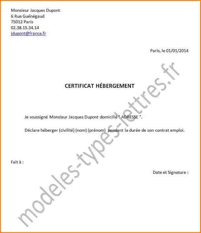 Certificat Hebergement Exemple Modele De Lettre Type