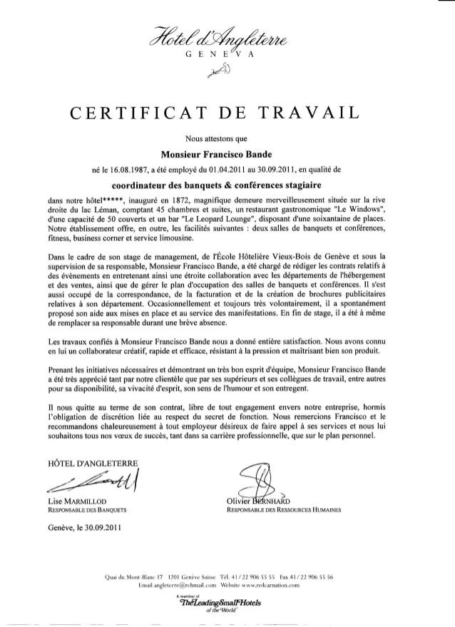 certificat travail gratuit