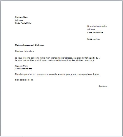 changement d'adresse lettre type banque