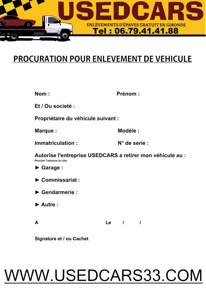 comment ecrire une procuration pour une voiture - Modele de lettre type