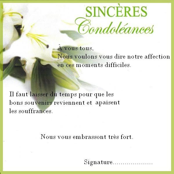 condoleances professionnelle - Modele de lettre type