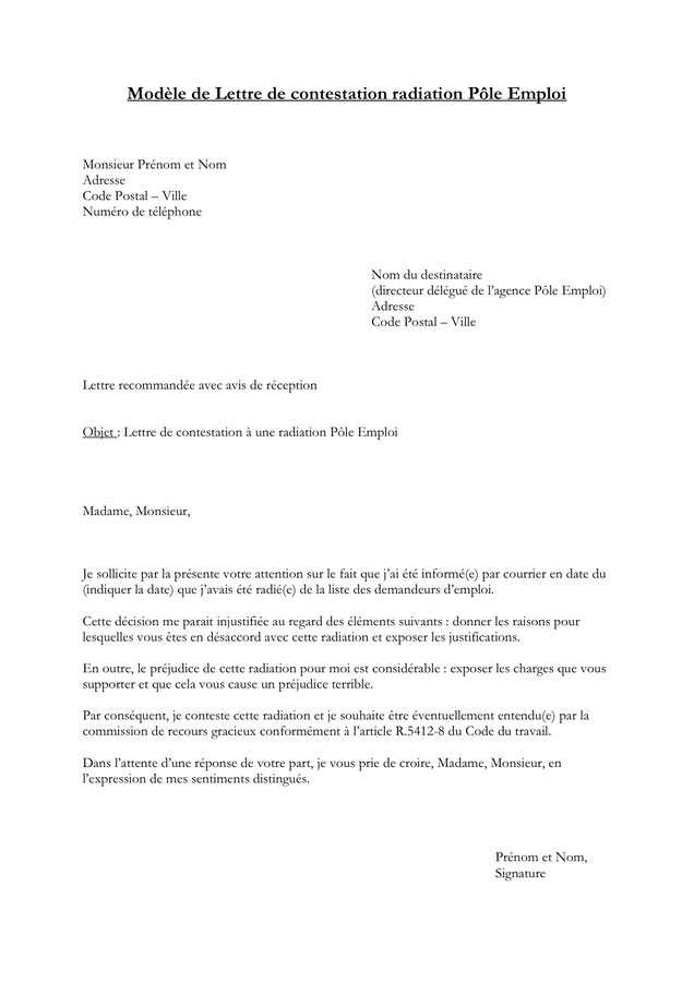 Contestation Avertissement Travail Modele Modele De Lettre Type