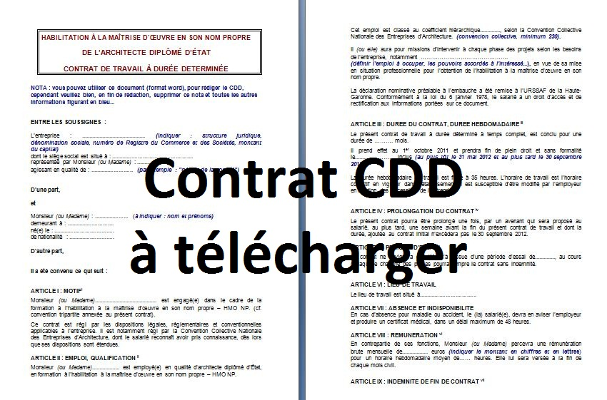contrat a duree determinee modele