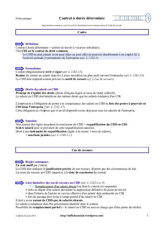 contrat cdd modele