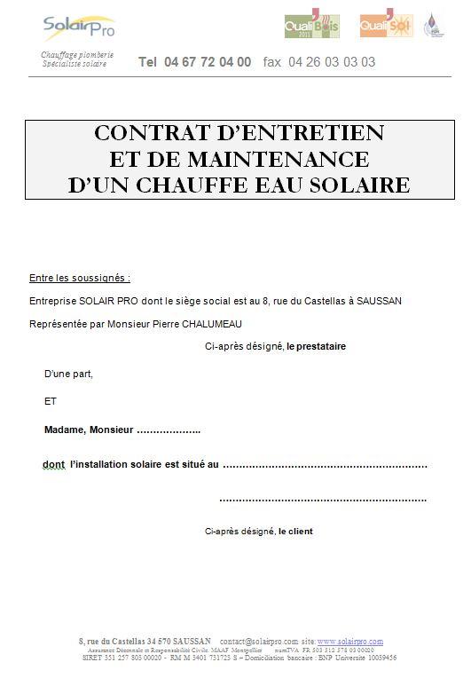 contrat d'entretien type