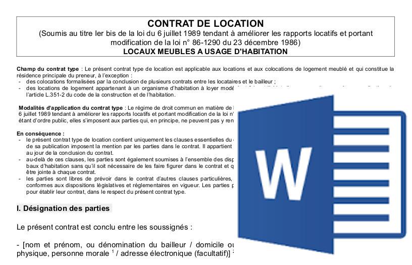 contrat location appartement gratuit word