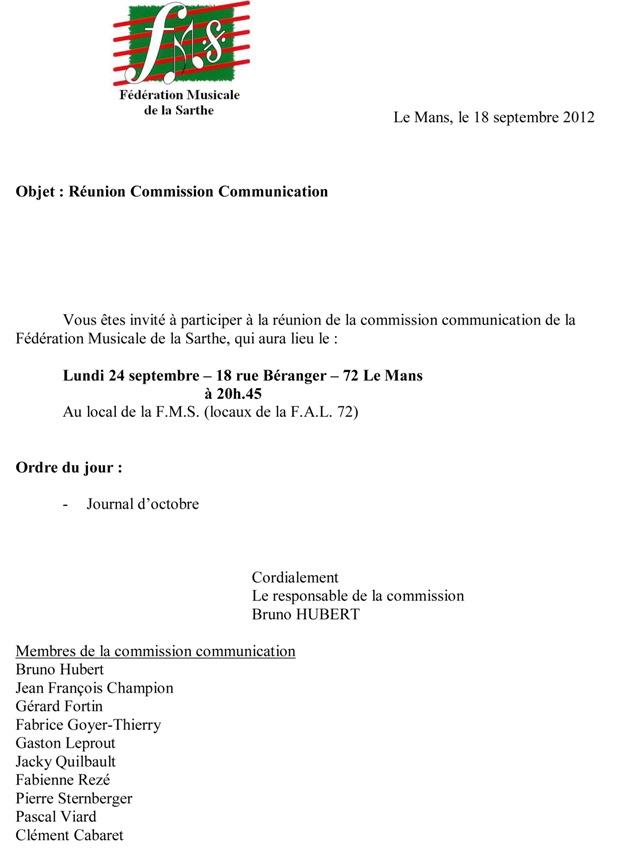 convocation modele