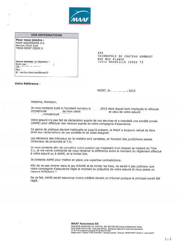 courrier assurance accident
