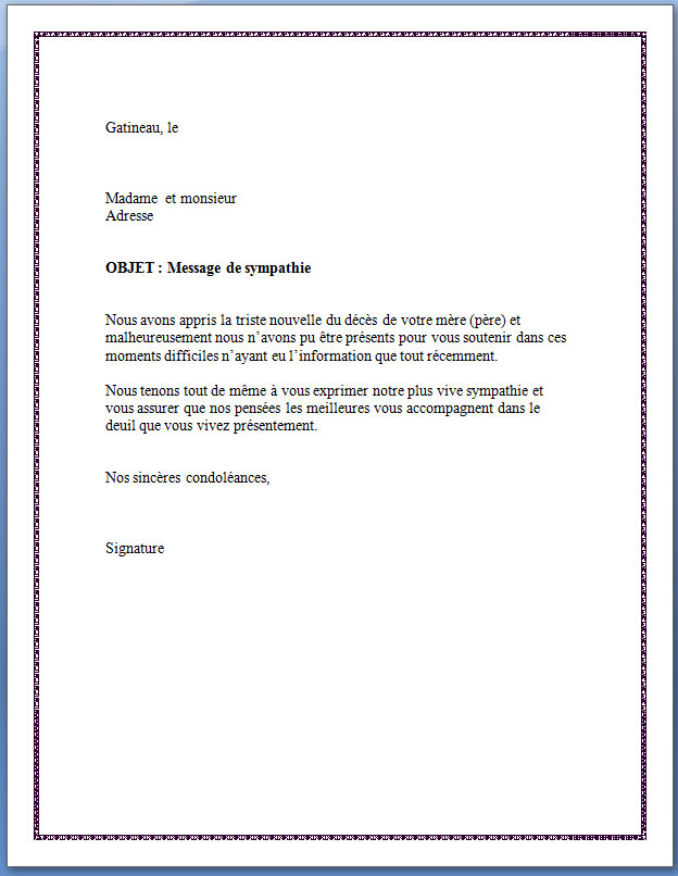 courrier condoleances lettre type