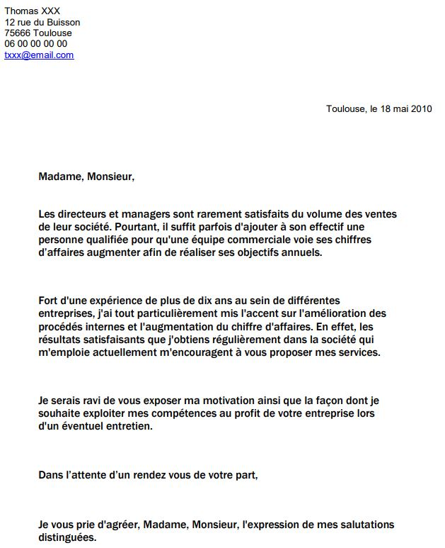 courrier de candidature spontanee