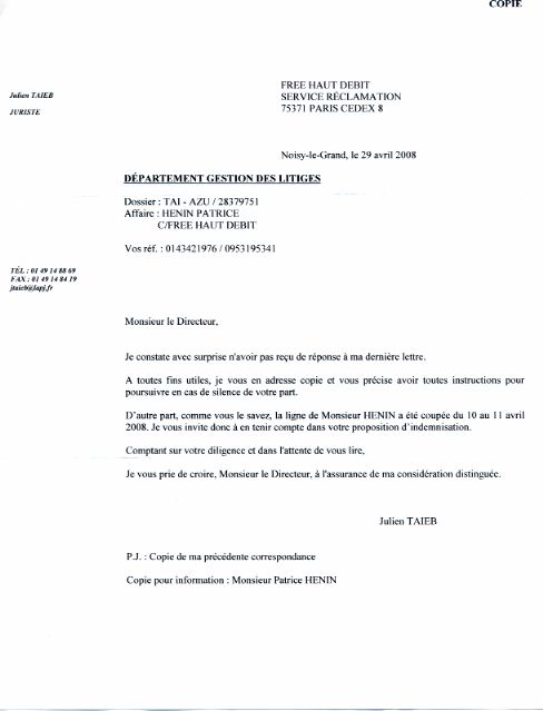 courrier de reclamation gratuit