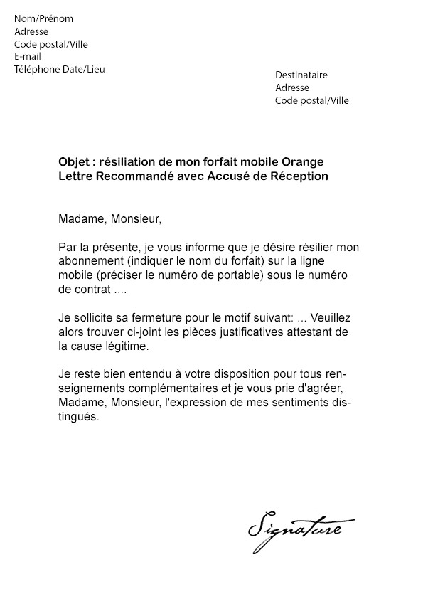 courrier de resiliation orange mobile