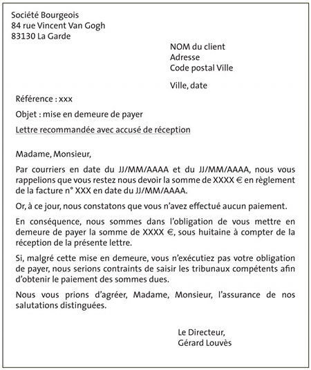 courrier facture a payer