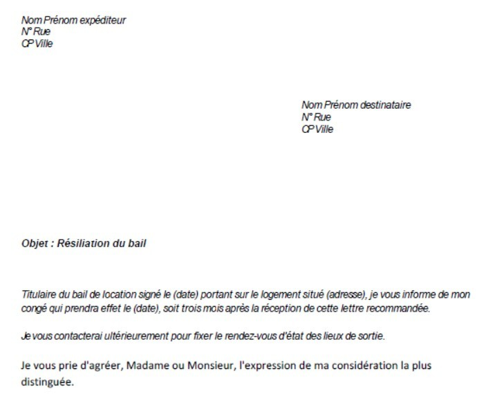 courrier fin de bail