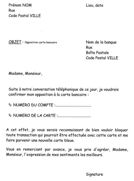 courrier opposition carte bancaire