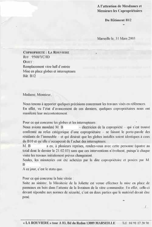 courrier plainte voisinage