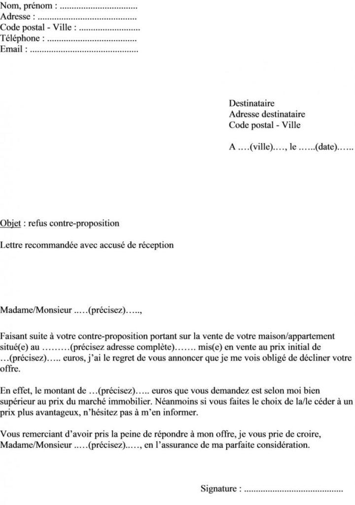 Courrier Proposition D Achat Immobilier Modele De Lettre Type