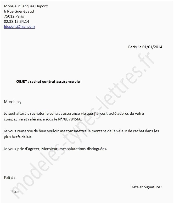 courrier resiliation assurance deces