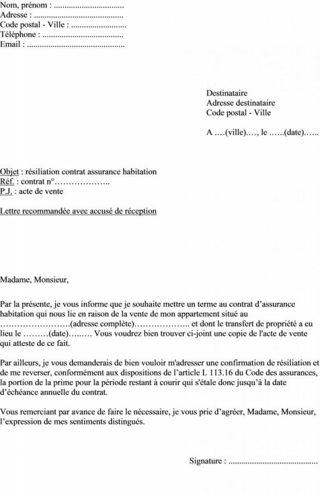 courrier resiliation assurance maison - Modele de lettre type
