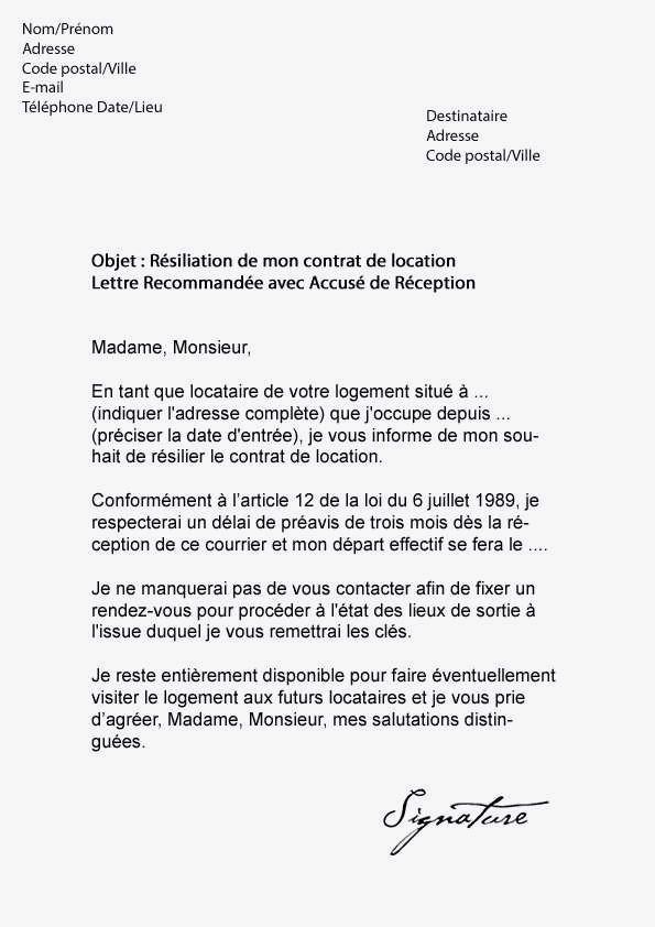 courrier resiliation bouygues - Modele de lettre type