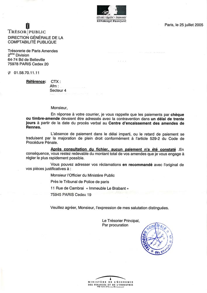 courrier type administration
