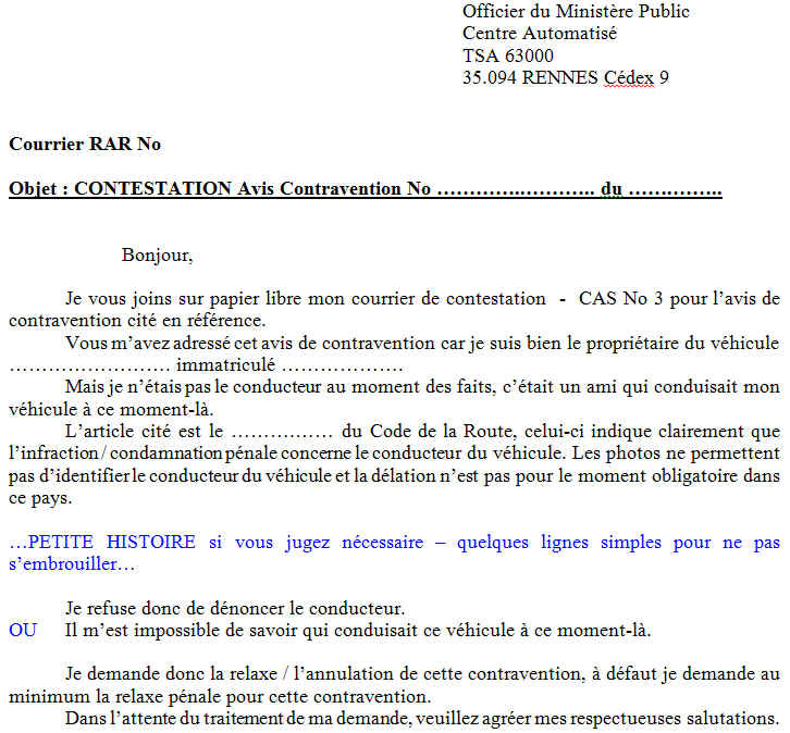 courrier type contestation pv