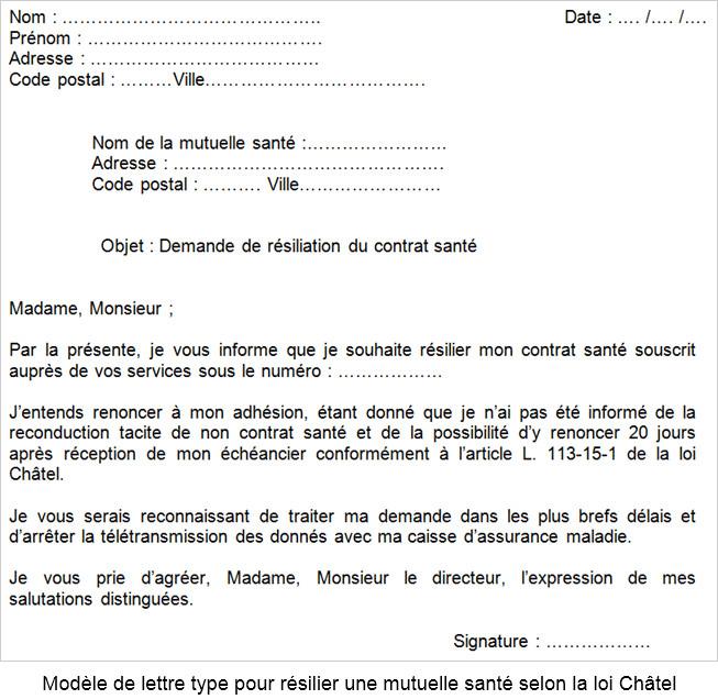 courrier type resiliation mutuelle sante - Modele de lettre type