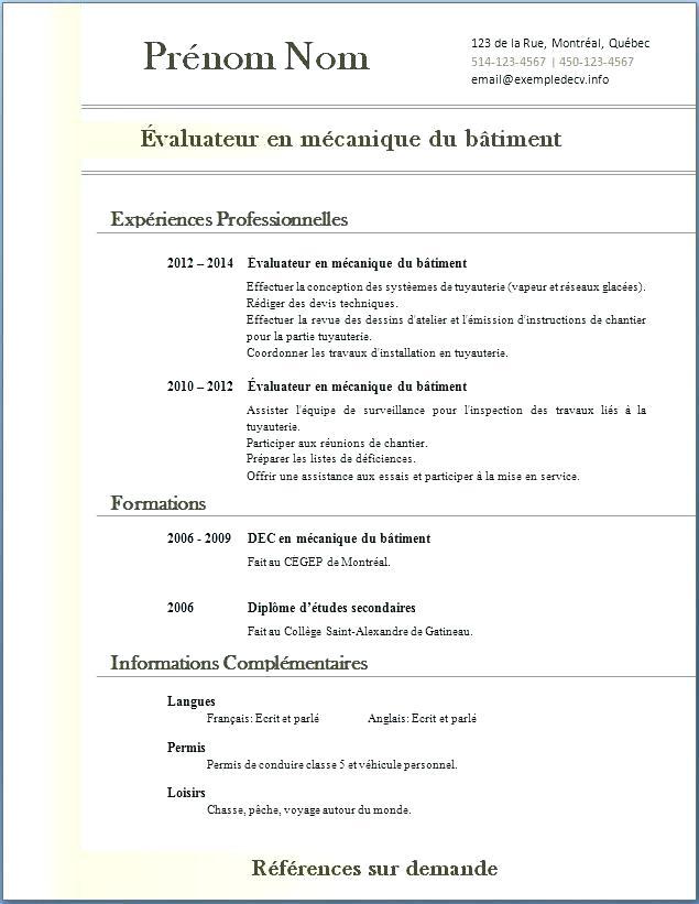 cv gratuit a telecharger pdf
