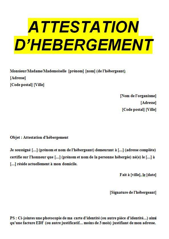 declaration d ebergement - Modele de lettre type