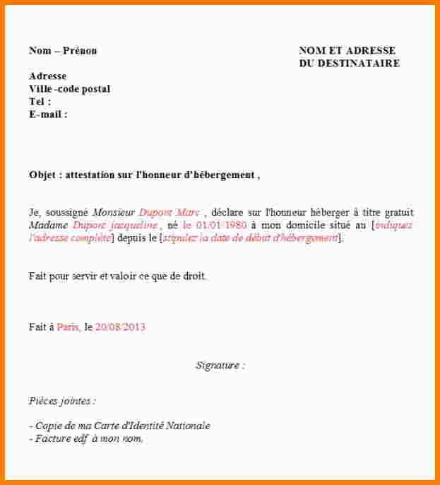 declaration sur l'honneur d'hebergement a titre gratuit - Modele de lettre type